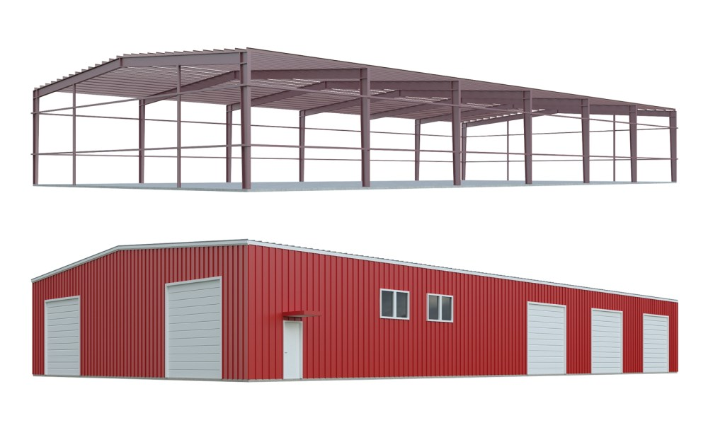 medium resolution of metal building kits red iron building kit frame and components