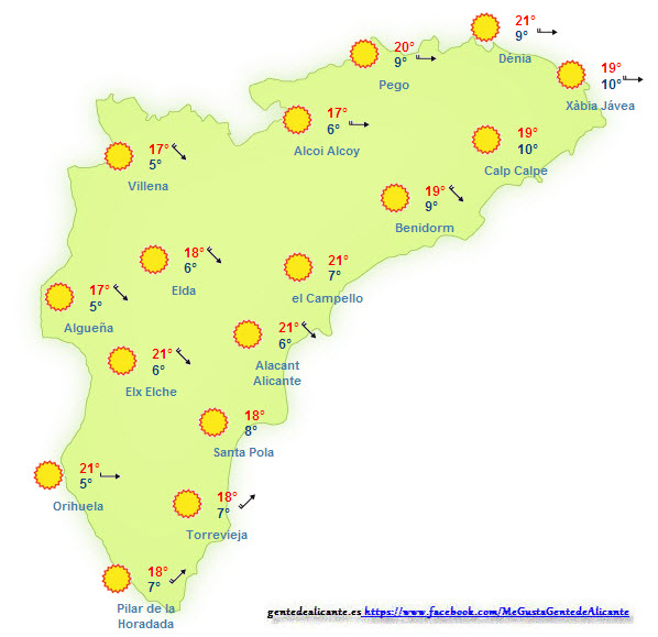 El Tiempo en Alicante y la provincia hoy 26 de Diciembre  El tiempo en Alicante y la provincia hoy día 26 de Diciembre. El cielo se presentará con cielos despejados en toda la provincia.  Las temperaturas máximas, de esta manera en la capital destacaremos los 17º que podemos llegar a alcanzar, en el resto de la provincia se registrarán puntos donde alcanzarán también los 17º de máxima, las mínimas se presentan con 3º grados, en las localidades de Alcoy, Algüeña y Villena, como valor más bajo en toda la provincia, mientras que en la capital destacamos los 7º grados de mínima.  El viento será bastante intenso en prácticamente toda la provincia.  El-Tiempo-en-Alicante-y-provincia-hoy-26-de-Diciembre  Las temperaturas en la provincia de Alicante y en la capital Alicante:  Las temperaturas máximas estarán en los 17º grados en la capital alicantina, en el resto de la provincia las temperaturas oscilarán entre los 11º y 17º grados.  Las mínimas llegan hasta los 7º grados, en la capital alicantina , en el resto de la provincia las mínimas estarán entre los 3º y 9º grados.  La humedad relativa que tendremos será aproximadamente del 39% , y tendremos un viento sobre los 51 km/h.   Desde Gente de Alicante, os deseamos un buen día.