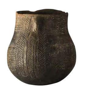 Vaso cerámico con orante de Cova de l'Or (Beniarrés)