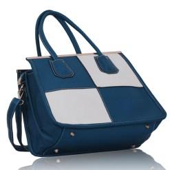 Geanta dama Paula - alb, albastru - geanta de mana