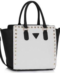 Geanta dama Sofia - alb si negru - geanta mana