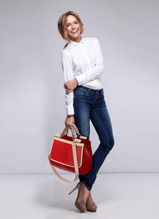 Geanta dama Senna-rosu cu bej-geanta umar
