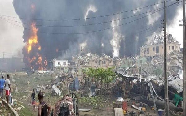 Lagos Pipeline Explosion : Many Dead Buildings Destroyed in Explosion