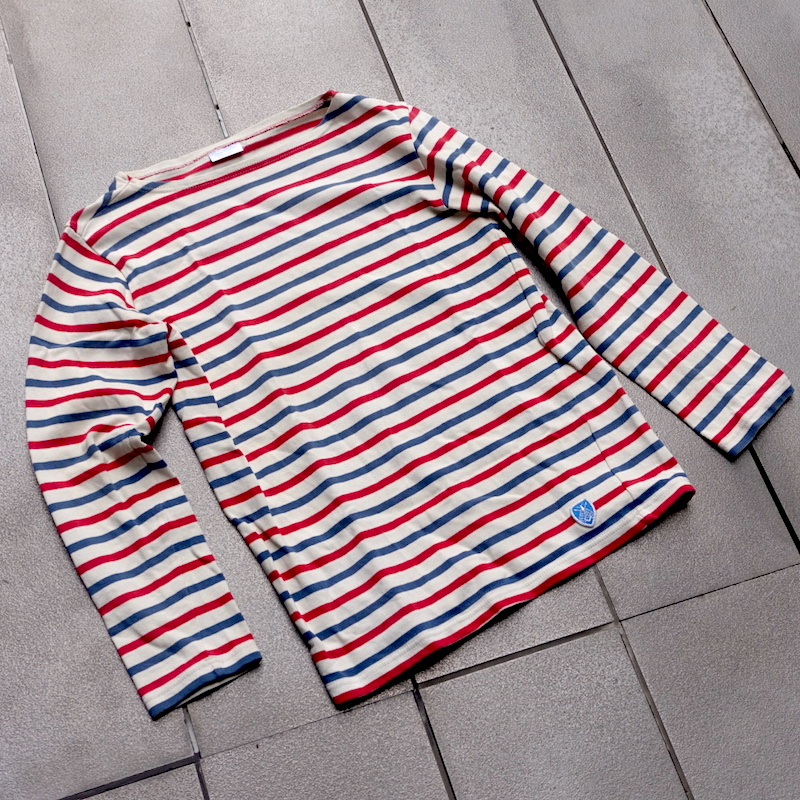 オーシバルのコットンロードボーダーシャツ、トリコロール