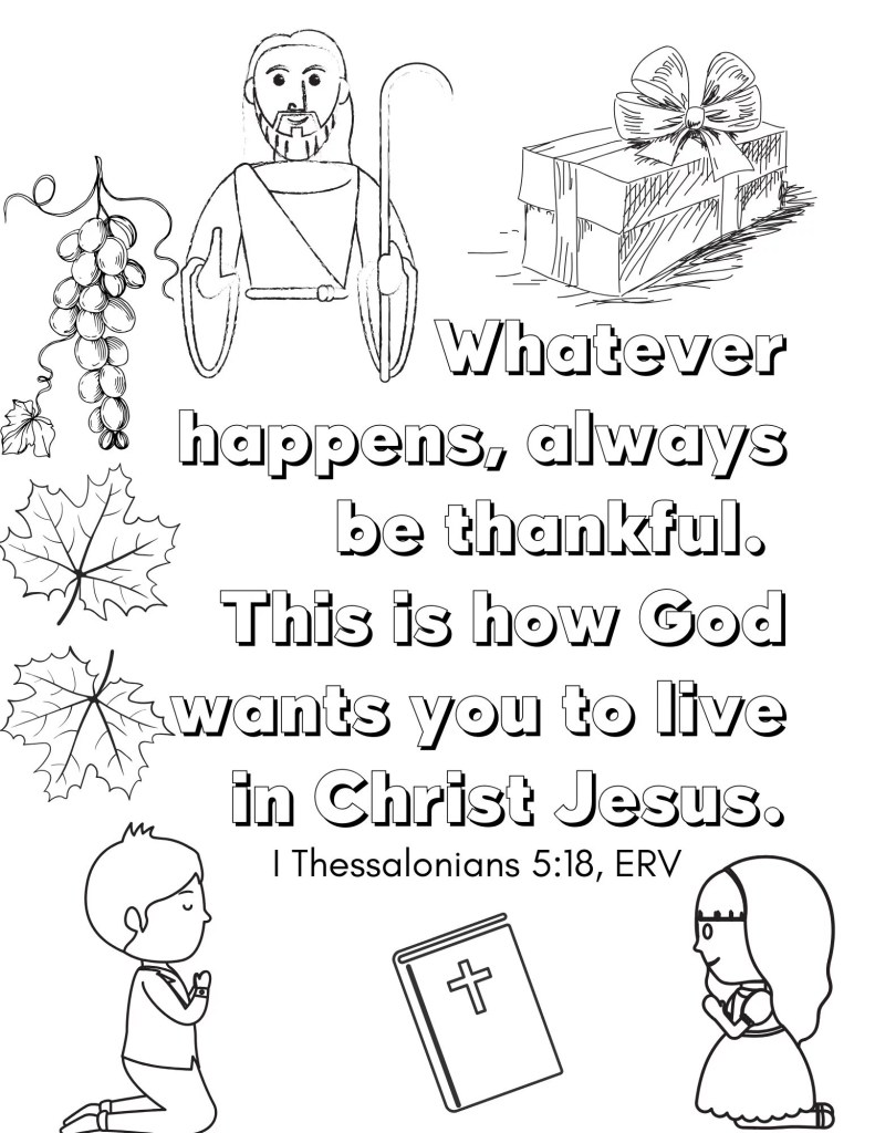 image of kids Bible coloring page - Gratitude