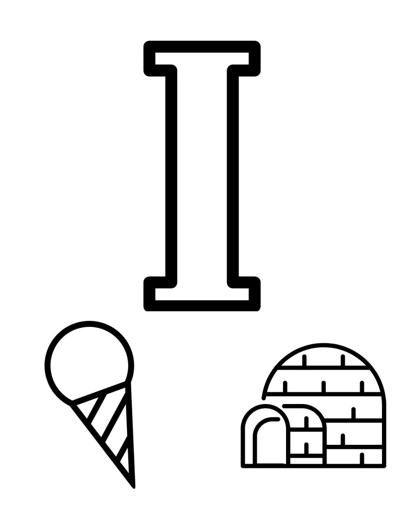 image of I toddler coloring page with ice cream and igloo