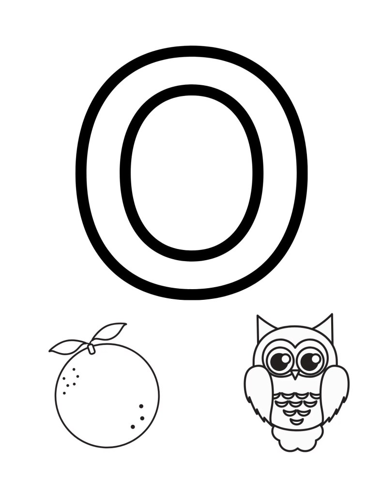 image of O toddler coloring page