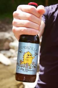 lemonzilla beer label illustration