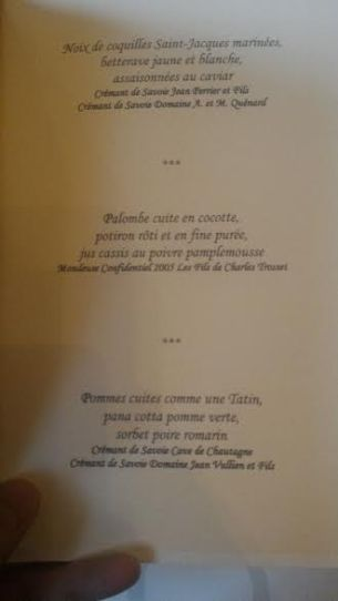 cremant de Savoie au Grand vefour menu