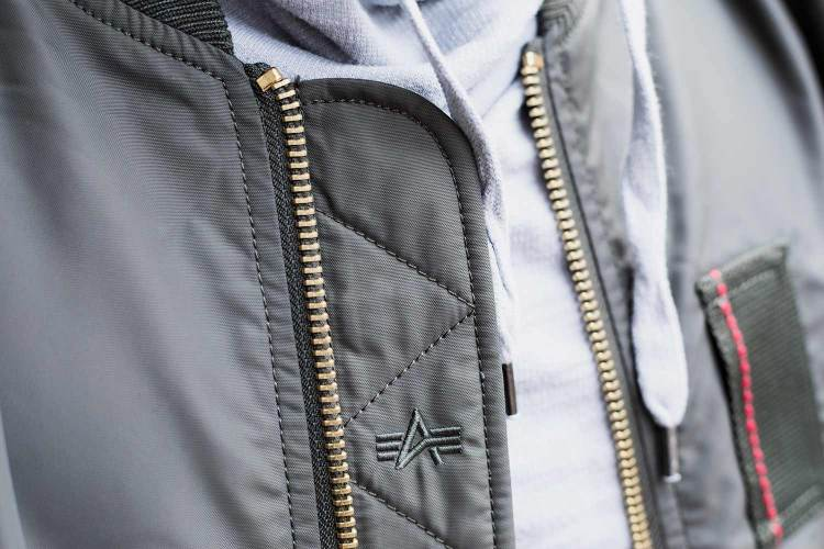Alpha Industries MA-1 Skymaster Flight Bomber Jacket Front Details