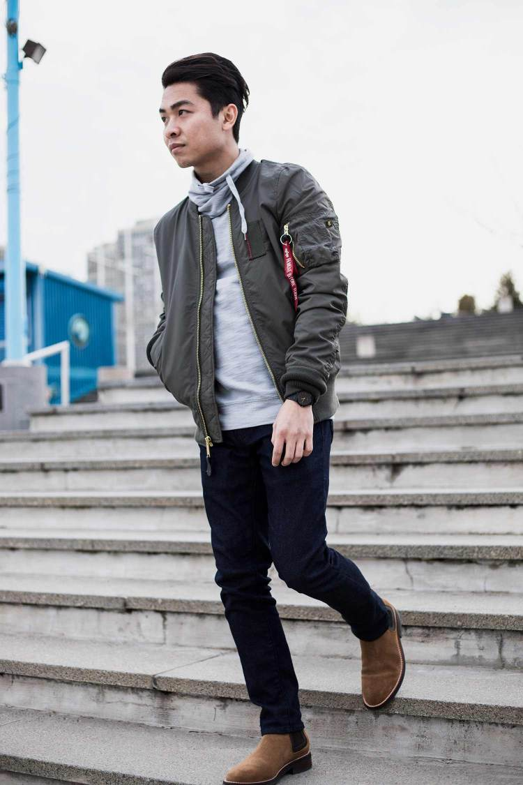 Alpha Industries MA-1 Skymaster Flight Bomber Jacket Walking Down Steps