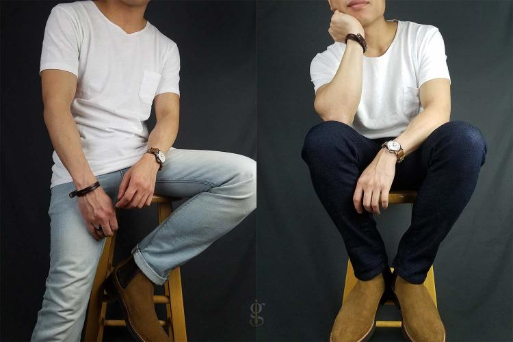 Scoopneck t-shirt light wash & dark wash with chelseas outfits   GENTLEMAN WITHIN