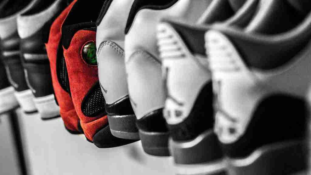 A row of Jordan Air shoes