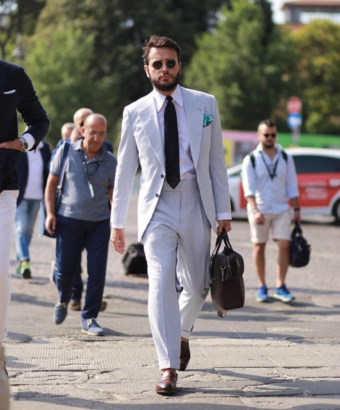 Opt for a white suit in the warmer days.