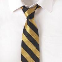 Silk Black & Gold Stripe Tie | Gentlemint