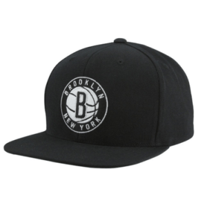 Mitchell & Ness Brooklyn Nets Standard Logo Snapback Adjustable Hat – Black