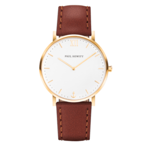 Sailor Line_White Sand_Gold_Leather Watchstrap_Brown