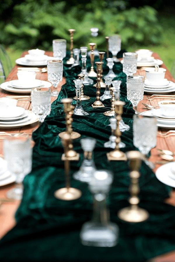 wedding table setting with velvet table runner