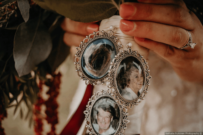 something old memory lockets on bride's bouquet