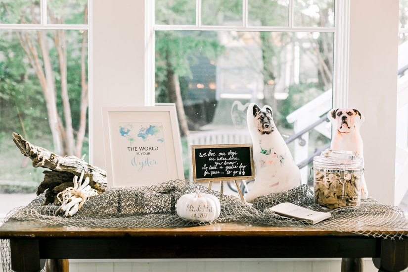 table decorations at nautical themed wedding