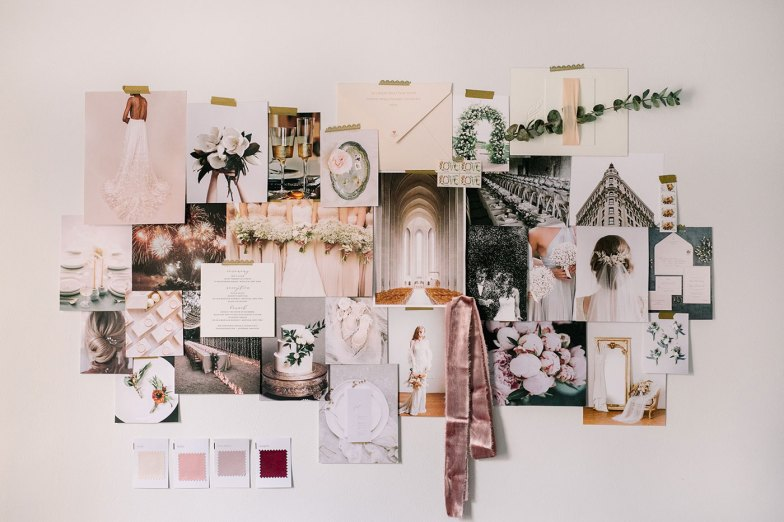 swatch and color palette inspiration board for wedding