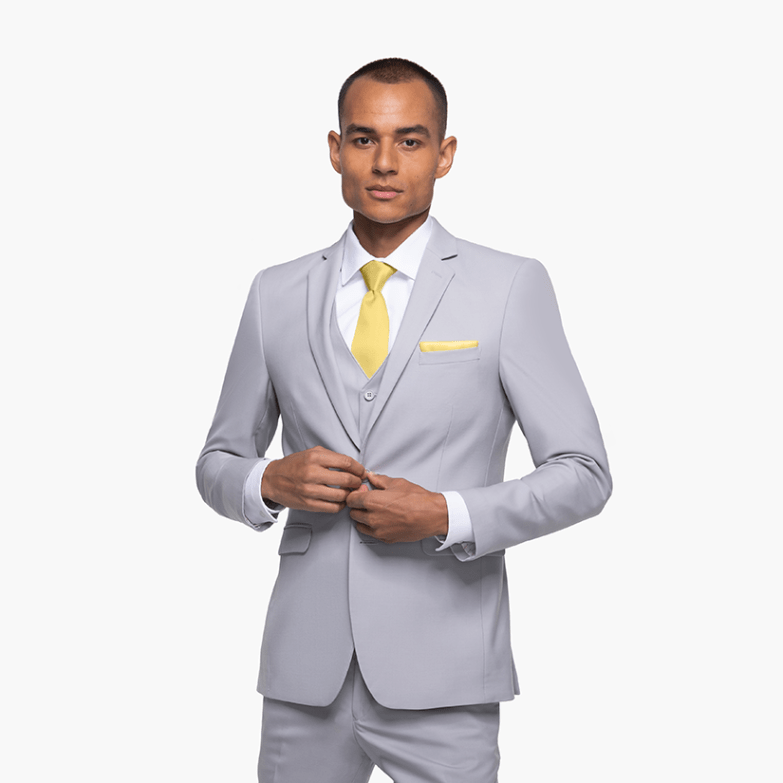 Cement gray suit with yellow accessories