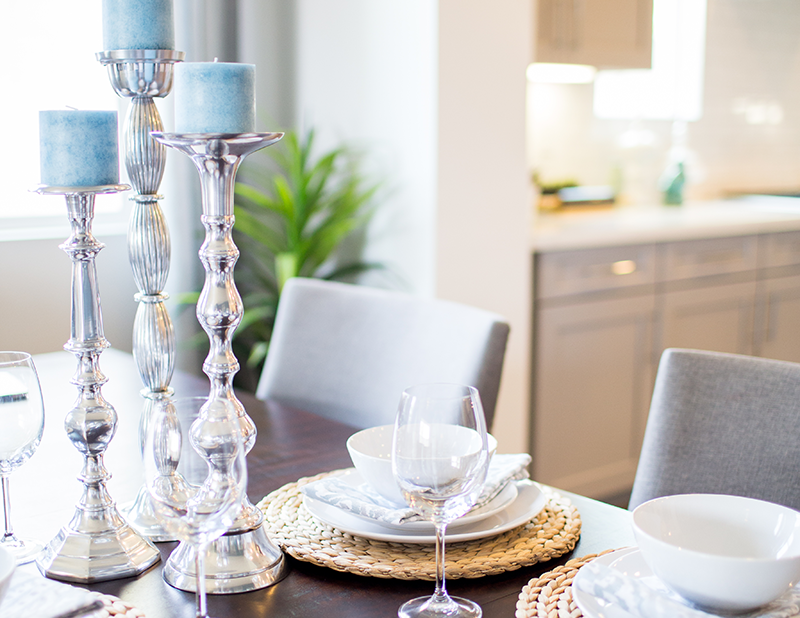 Transform a small space into a welcoming and inviting room by adding candles to add warmth and life!