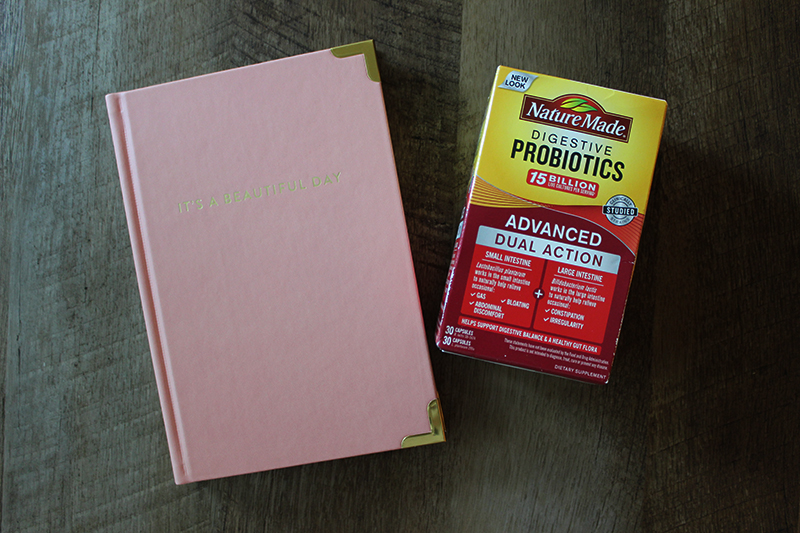 Start your day with a Nature Made Probiotic and journaling to improve your mind-body balance!
