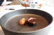 Miyazaki wagyu beef, strip loin; char-grilled with seaweed & tomato dust raw & cooked 'fukuoka salt' tomatoes & black garlic caramel