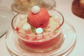 Gariguette strawberries with Prosecco jelly, mint and lime granita, strawberry sorbet and meringues