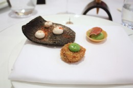 Canapes - Squid Ink Cracker with Taramasalata, Rabbit Kromenski, Smoked Pea Tartlet