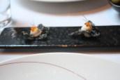 Squid Ink Crackers, Salmon Mousse, Keta