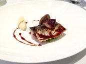 Flame Grilled Cornish Mackerel with a Duxelles of Cepes, Savoy Cabbage and Miso Glazed Eel