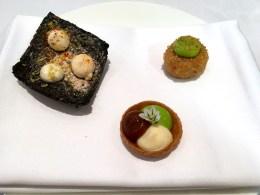 Squid Ink Cracker with Taramasalata, Rabbit Cromesqui; Wild Garlic Tartlet