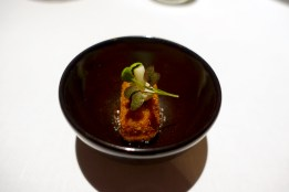 Hot duck liver, shimeiji mushroom, prune and tamarind puree