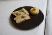 Crab Biscuit, Taramasalata, Seaweed Powder; Polenta Crisp, Truffle Mayonnaise