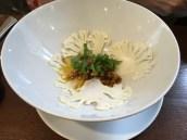 Cauliflower Soup, Curry Oil, Almond Praline, Sorrel