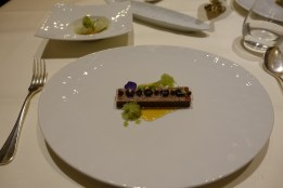 Japanese cream from fine cocoa roasted miso-toffee Green melon and iced cucumber salad cashew brittle