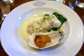 Cornish Stone Bass & Oyster, Purple Sprouting Broccoli & Mashed Potato