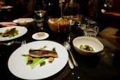 Line Caught Mackerel - Teppanyaki flamed, Matcha dashi, Xeres vinegar and baby leeks