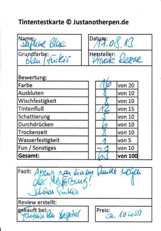 Private Reserve Daphne Blue Testkarte Vorderseite