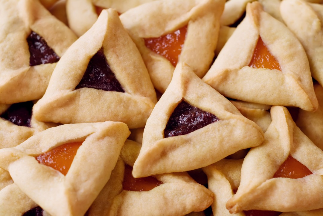 Photo of traditional hamantaschen cookies for the Jewish festival of Purim.