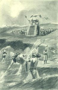 "Photo of An artist's illustration depicting Xerxes' alleged ""punishment"" of the Hellespont"
