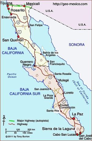Map of Baja California Peninsula