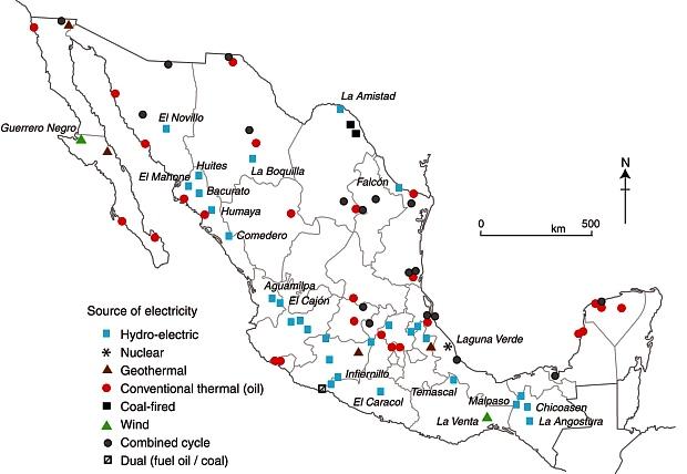 electrical plants usa map 2017