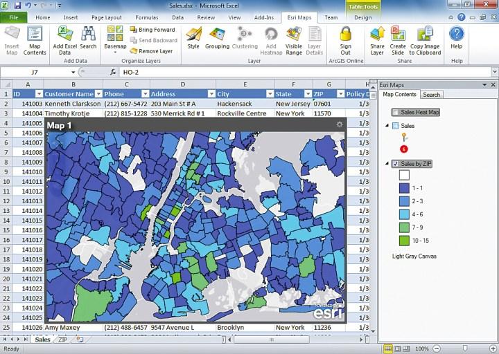 Esri Maps for Office fügt Excel ein neues Menü hinzu (Abbildung von Esri).
