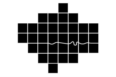 London Square Map, mit abstrahierter Darstellung der Themse (von After the Flood)