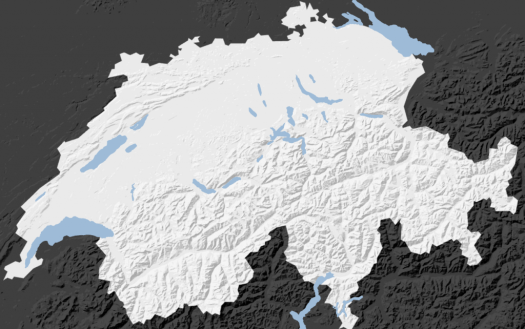 Vectorized relief map: neutral colors for more attention on project data added on top