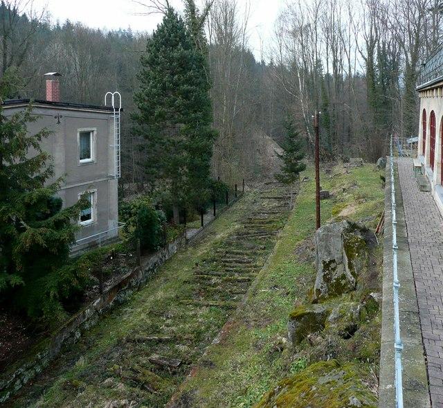 Langenhennersdorf Blick auf die Trasse der ehemaligen