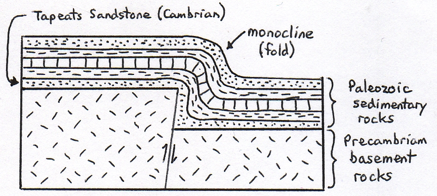 Basic diagram showing folded sedimentary rocks draped over a basement fault.
